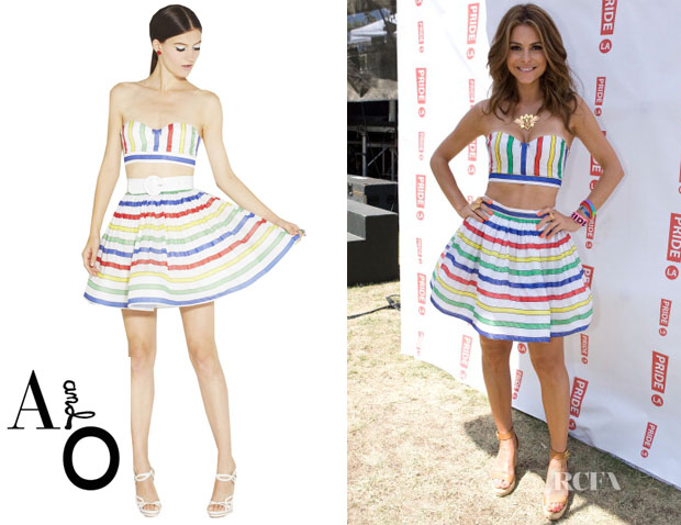 Maria Menounos' Alice + Olivia Striped Bustier & Skirt