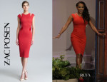 Mel B's Zac Posen Bondage Jersey Red Cut-Out Dress