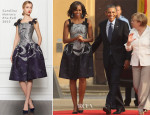 Michelle Obama In Carolina Herrera - Charlottenburg Palace Berlin Dinner