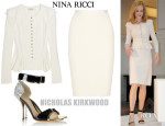 Nicole Kidman's Nina Ricci Stretch Wool-Blend Crepe Jacket, Skirt & Nicholas Kirkwood Sandals