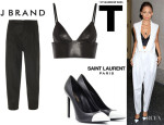 Nicole Richie's J Brand 'Maggie' Pleated Trousers, T by Alexander Wang Leather Bralette And Saint Laurent Bicolor Leather Pumps