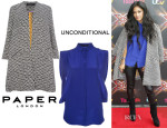 Nicole Scherzinger's Paper London Sandman Jacquard Coat & Unconditional Boxy Fit Blouse