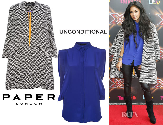 Nicole Scherzinger's Paper London 'Sandman' jacquard coat & Unconditional Boxy Fit Blouse