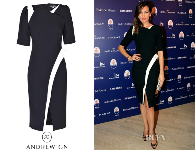 Nieves Alvarez' Andrew Gn Black-and-White Dress