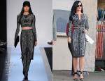 On The 'Kroll Show' Set With Katy Perry In Hervé Léger By Max Azria