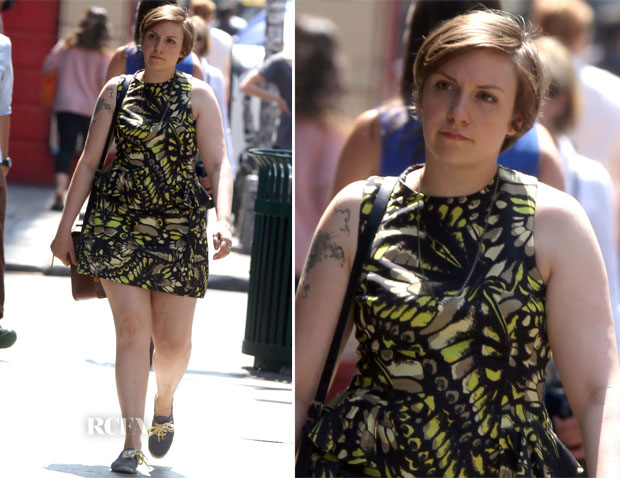 On The Set Of 'Girls' With Lena Dunham In McQ Alexander McQueen