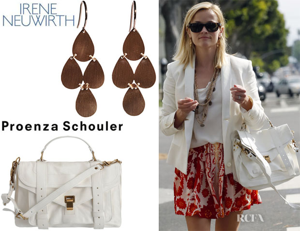 Reese Witherspoon's Irene Neuwirth Classic Chandelier Earrings And Proenza Schouler PS1 Leather Satchel