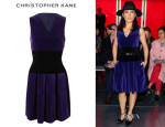 Salma Hayek's Christopher Kane Colour Blocked Velvet Dress