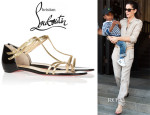 Sandra Bullock's Christian Louboutin Arnold Metallic Watersnake and Patent-Leather Sandals
