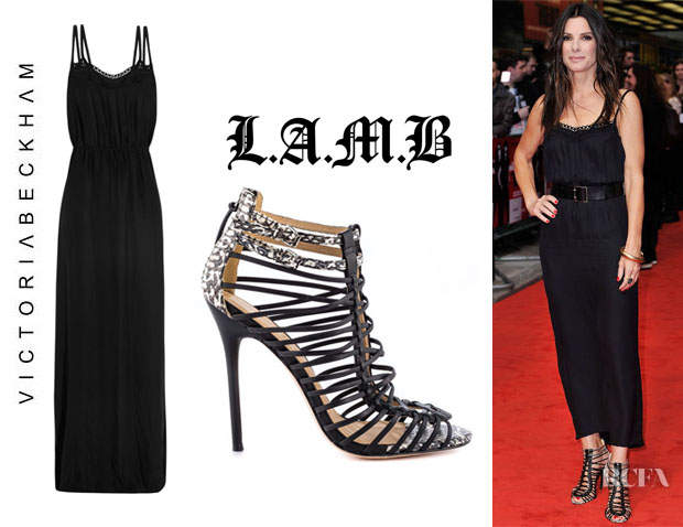 Sandra Bullock's Victoria Beckham Backless Silk Gown And L.A.M.B 'Payton' Sandals