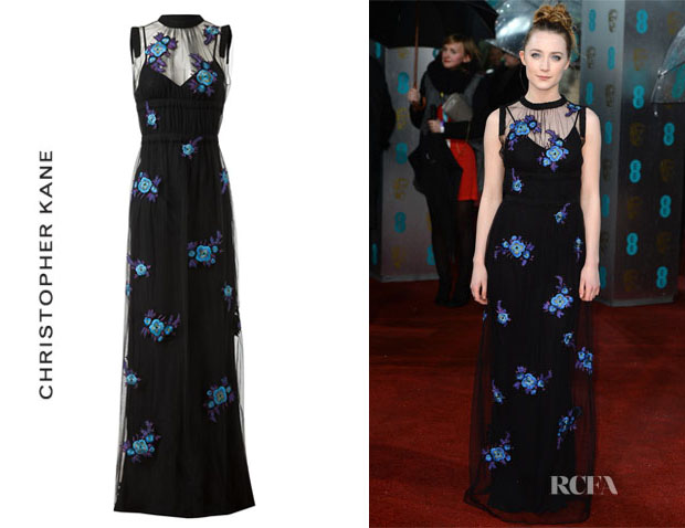 Saoirse Ronan's Christopher Kane Floral Embroidered Tulle Gown