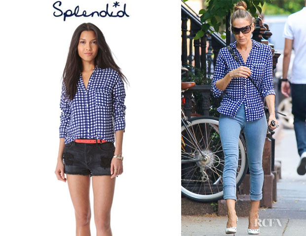Sarah Jessica Parker's Splendid Gingham Button Down Blouse