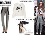 Selena Gomez' Viktor & Rolf Sweater, Moschino Cheap & Chic Suspender Straight Leg Pants And Bionda Castana 'Elisabetta' Heels