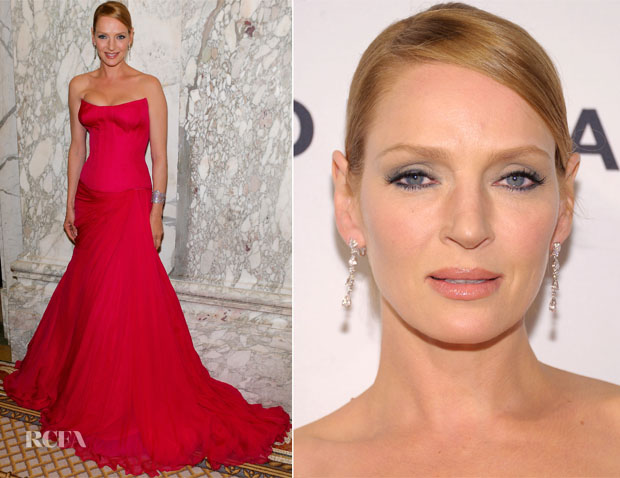 Uma Thurman In Atelier Versace - 4th Annual amfAR Inspiration Gala New York