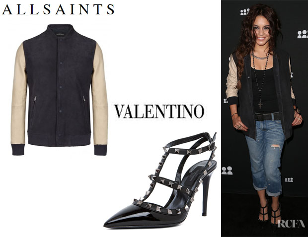 Vanessa Hudgens' All Saints 'Bleek' Leather Bomber Jacket And Valentino 'Rockstud' Slingbacks