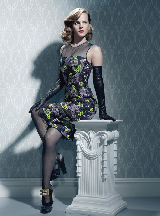 Erdem dress; Harry Winston platinum and diamond earrings; Sermoneta Gloves gloves; Falke fishnet tights; Prada shoes.