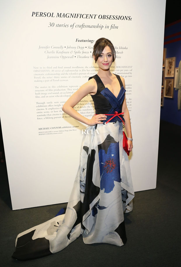 Emmy Rossum in Carolina Herrera