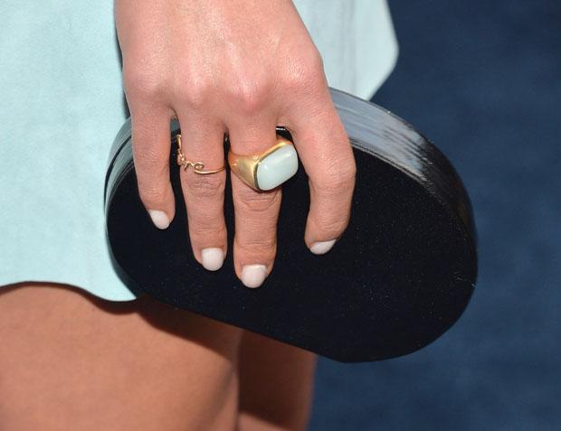 Jordana Brewster's Lauren Merkin Lucca oval shaped minaudière