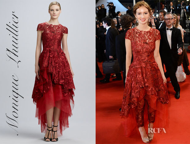 Ahna O'Reilly's Monique Lhuillier High-Low Floral-Embroidery Ball Gown