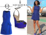 Alesha Dixon's McQ Alexander McQueen Peplum Dress And Aquazzura 'Cuba Libre' Shoes