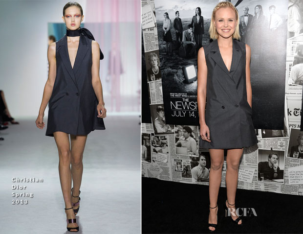 Alison Pill In Christian Dior - 'The Newsroom' Season 2 Premiere