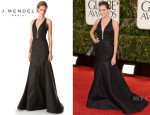 Allison Williams' J. Mendel Deep V Halter Gown