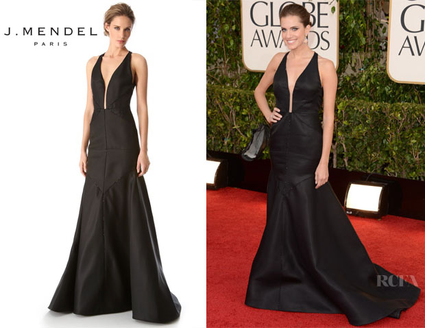 Allison Williams' J Mendel Deep V Halter Gown