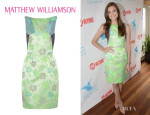 Allison Williams' Matthew Williamson Paneled Floral Brocade Dress