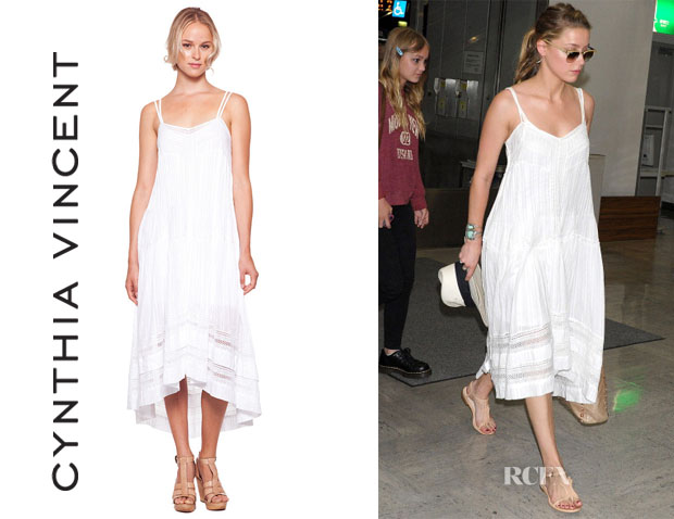 Amber Heard's Cynthia Vincent Western Lace High Low White Dress