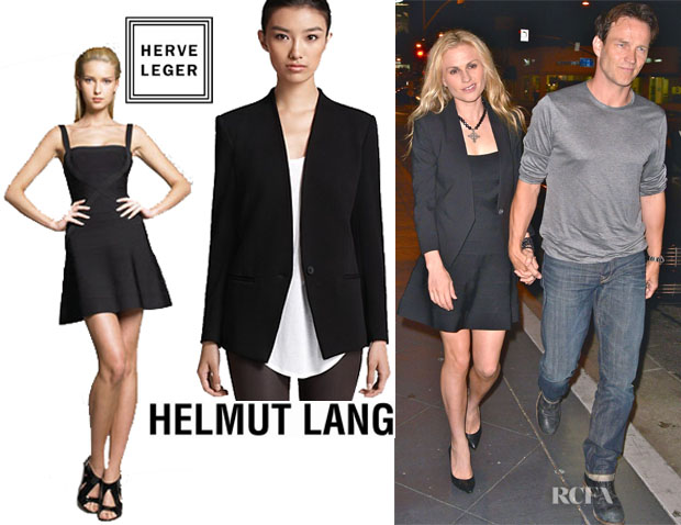 Anna Paquin's Hervé Léger Fit And Flare Bandage Dress And HELMUT Helmut Lang Jacket