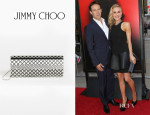 Anna Paquin's Jimmy Choo 'Sweetie' Black and Silver Printed Acrylic Clutch