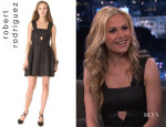Anna Paquin's Robert Rodriguez Raffia Box Pleat Dress