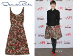 Anne Hathaway's Oscar de la Renta Floral-Print Silk and Wool-Blend Dress