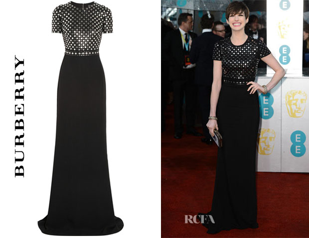 Anne Hathaway's Burberry Prorsum Studded Crepe Gown
