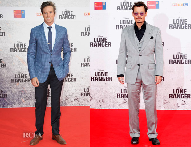 Armie Hammer In Ermenegildo Zegna & Johnny Depp In Tom Ford - 'Lone Ranger' Berlin Premiere