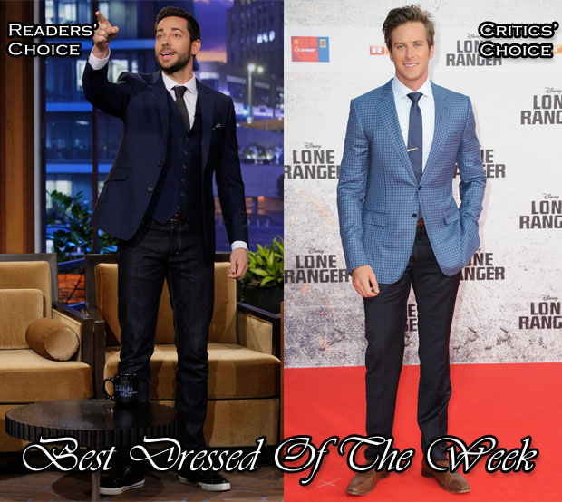 Best Dressed Of The Week - Zachery Levi in Reiss & Armie Hammer In Ermenegildo Zegna