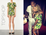 Beyonce Knowles' Topshop Banana Leaf Print Top & Shorts