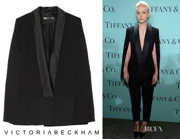 Carey Mulligan's Victoria Beckham Silk and wool-blend cape jacket