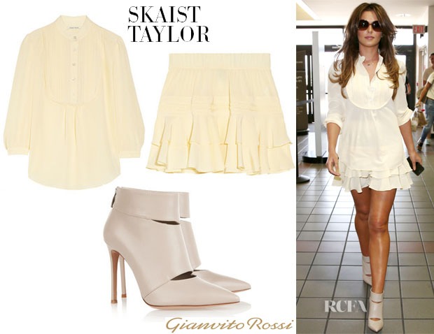 Cheryl Cole's Skaist-Taylor Silk Blouse, Ruffled Skirt & Gianvito Rossi Cut-Out Leather Ankle Boots