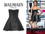 Ciara's Balmain Leather Bustier Dress