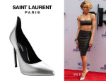 Ciara's Saint Laurent Leather Bandeau Top and Pointed Toe Pumps