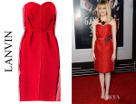 Emma Stone's Lanvin Astracan-Style Exposed Seam Strapless Dress