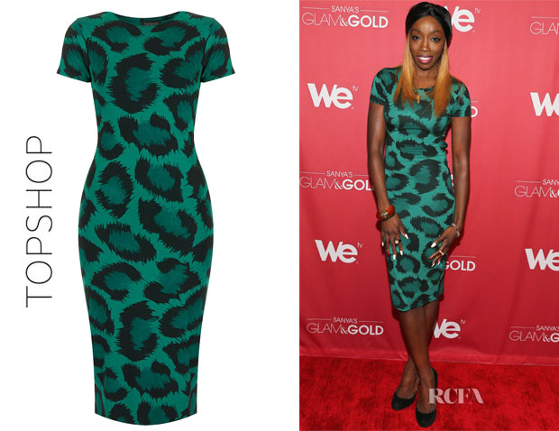 Estelle's Topshop Leopard Cutout Back Midi Dress