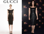 Gemma Arterton's Gucci Lacquered Lace Shift Dress