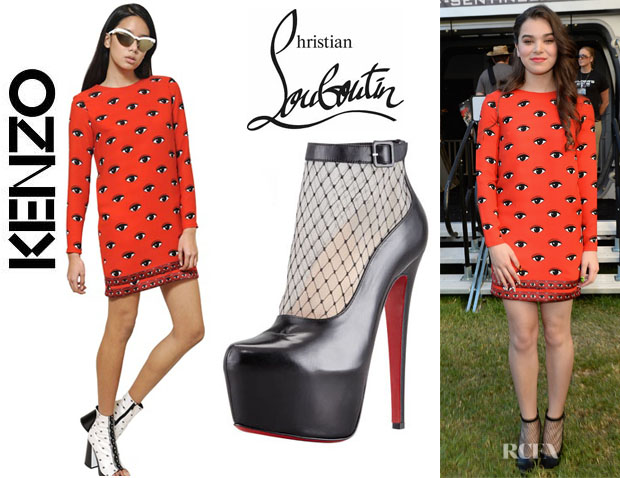Hailee Steinfeld's Kenzo Eye Printed Dress And Christian Louboutin 'Resillissima' Lace Illusion Platform Booties