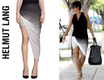 Halle Berry's Helmut Lang Shadow Ombre Asymmetrical Skirt