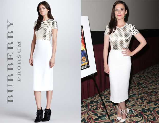 Hayley Atwell In Burberry Prorsum Spongy Sable Stud T-Shirt Dress