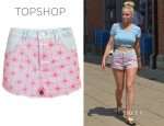 Helen Flanagan's Topshop Moto Bleach Spider Denim Hotpants