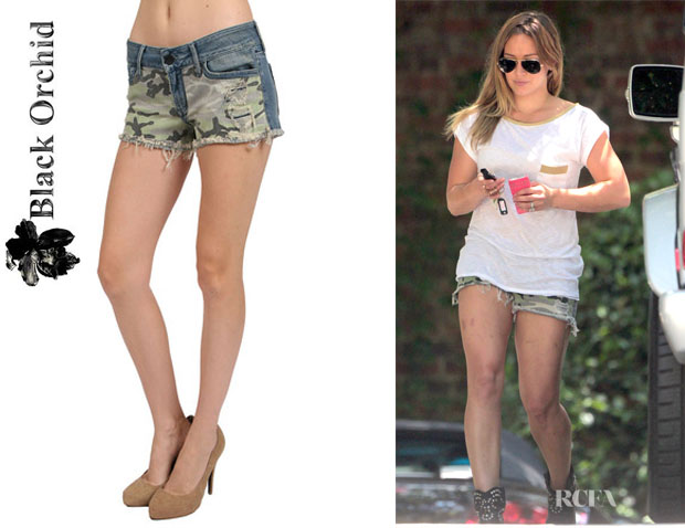 Hilary Duff's Black Orchid 'Dreamsicle Camo' Cut Off Shorts