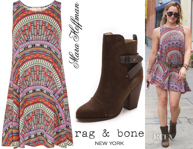 Hilary Duff's Mara Hoffman Rainbow Printed Tank Dress & Rag & Bone Kinsey Booties